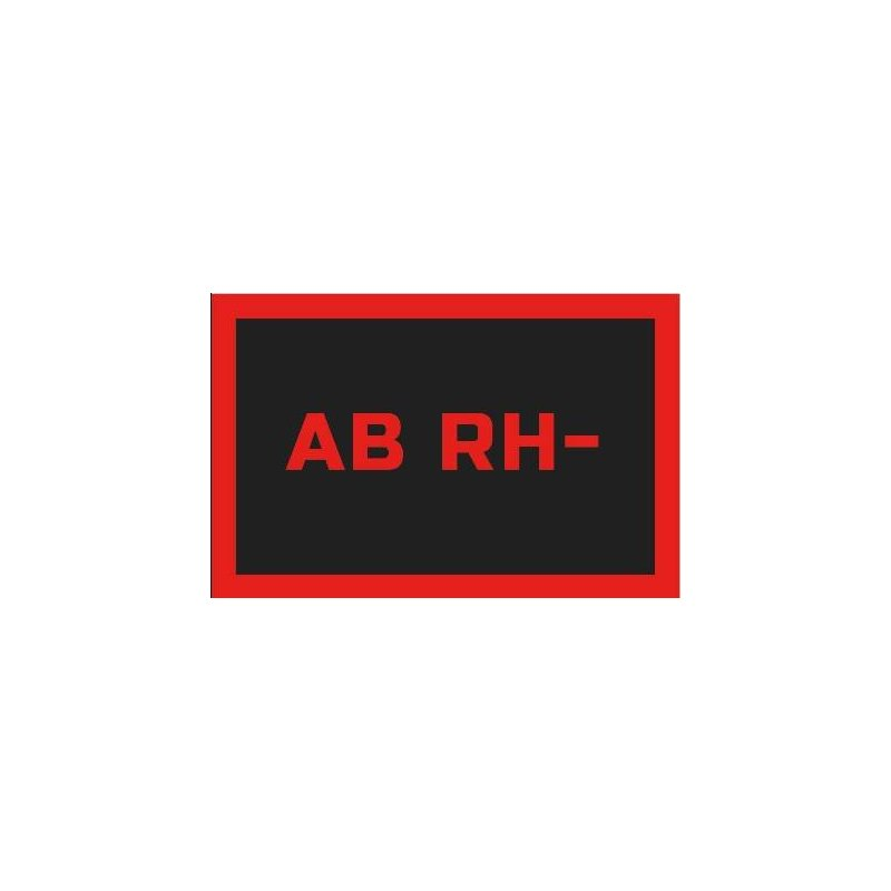 ODZNAKA NA RZEP REBELHORN GRUPA KRWI AB RH- BLACK/RED 50X80MM
