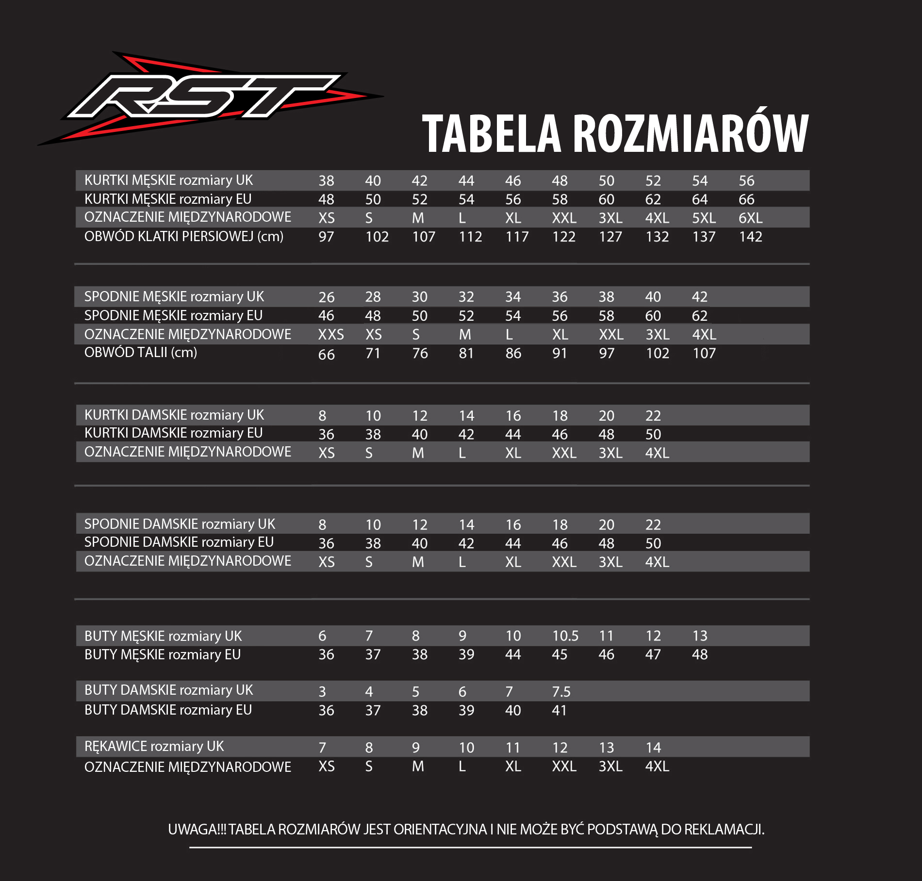 Tabela rozmiarów dla produktów marki RST