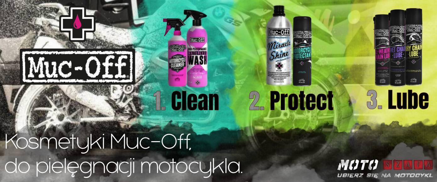 Kosmetyki Muc-Off do pielęgnacji motocykla.