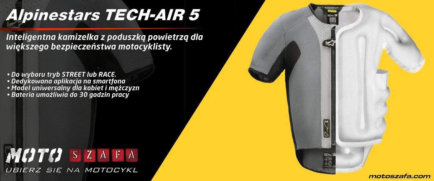 Autonomiczna kamizelka z poduszką powietrzną ALPINESTARS TECH-AIR 5 dla większego bezpieczestwa motocyklisty na drogach.